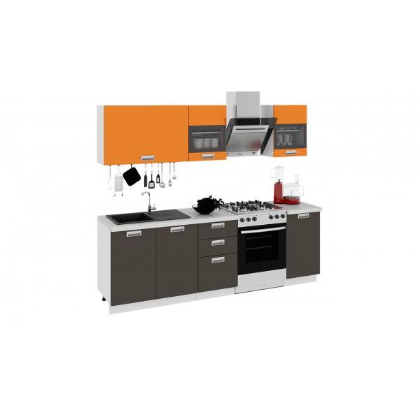 Кухонный гарнитур БЬЮТИ 240 см Оранж/Грэй (ГН72_210_2)