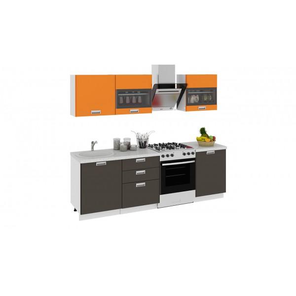 Кухонный гарнитур БЬЮТИ 240 см Оранж/Грэй (ГН60_240_2)