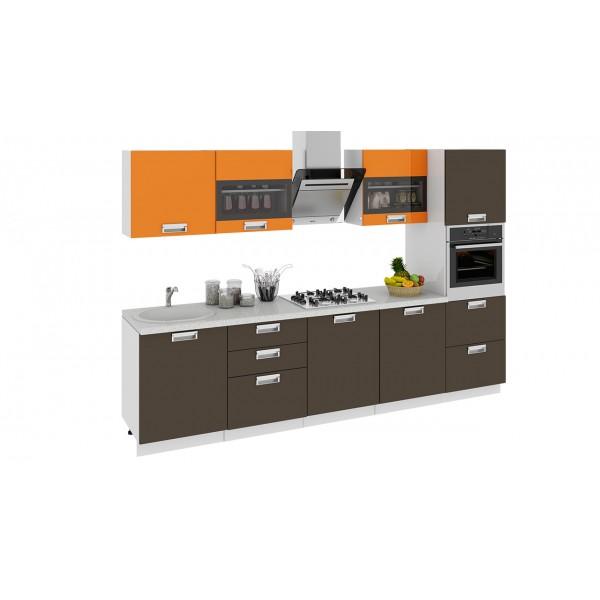 Кухонный гарнитур Бьюти 300 см с пеналом ПБ Оранж/Грэй (ГН60_300_3 ПБ)
