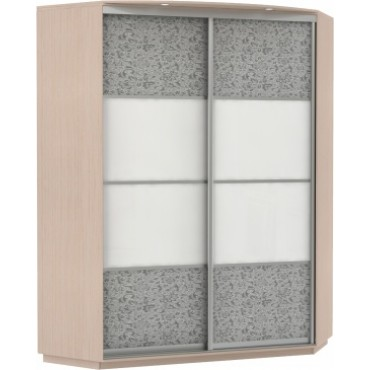 Угловой, корпус Дуб молочный, двери стекло цветное, экокожа