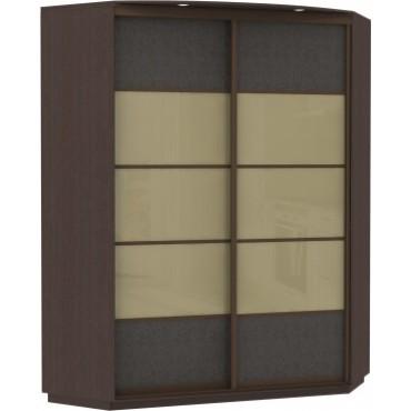 Угловой, корпус Венге, двери стекло, экокожа